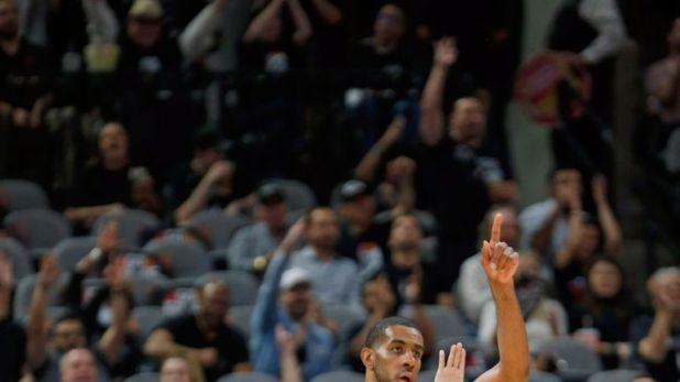 LaMarcus Aldridge celebrates a basket during the Spurs' Game 6 win over Denver
