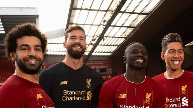 Mohamed Salah, Alisson, Sadio Mane and Roberto Firmino unveil Liverpool's new 2019/20 kit