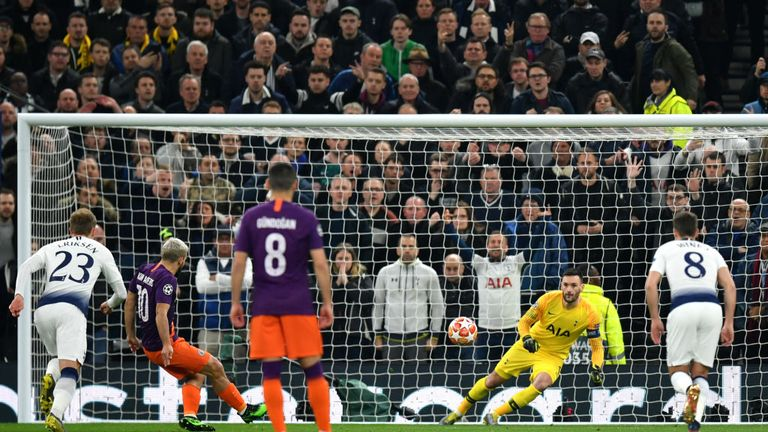 Sergio Aguero had his first-half penalty saved by Hugo Lloris in the first leg