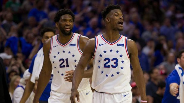 Joel Embiid and Jimmy Butler in playoff action for the Philadelphia 76ers
