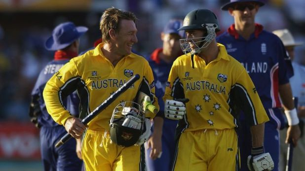 Michael Bevan and Andy Bichel celebrate a miraculous escape against England in 2003