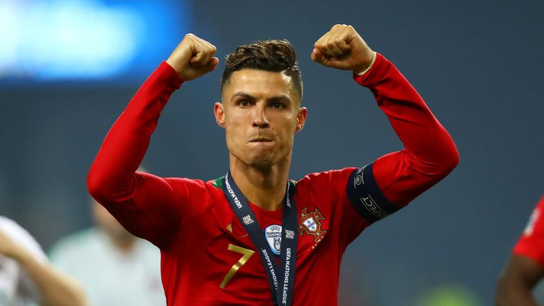 Cristiano Ronaldo celebrates Portugal's Nations League triumph