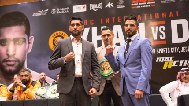 Amir Khan faces Billy Dib in Saudi Arabia tonight (Pic courtesy of Super Boxing League)