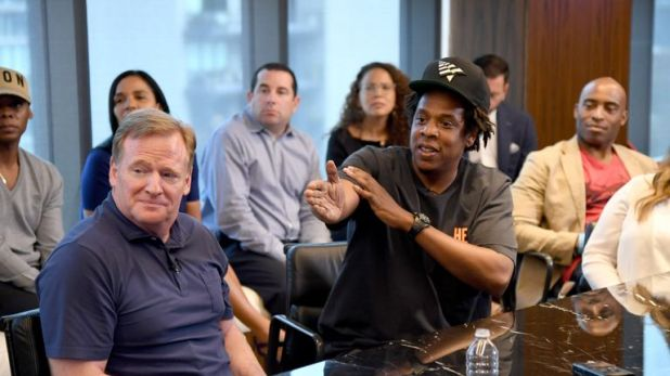 Jay-Z was fielding questions alongside NFL Commissioner Roger Goodell at his company's New York City headquarters