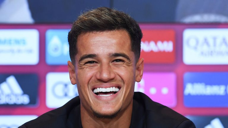 The Brazilian appears in good mood during a press conference after joining Bayern