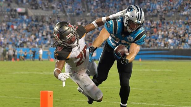 After more than 200 yards from scrimmage on opening weekend, the Bucs were able to limit Christian McCaffrey's impact on the game