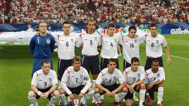 England pose for a photo prior to their quarter-final defeat to Portugal at the 2006 World Cup