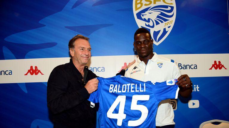 Balotelli with Massimo Cellino