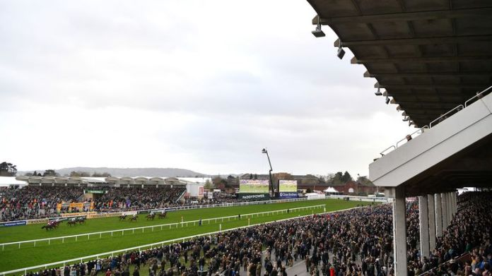 General view during the Brown Advisory & Merriebelle Stable Plate Handicap Chase (Grade 3) at Cheltenham Racecourse on March 12, 2020 in Cheltenham, England.