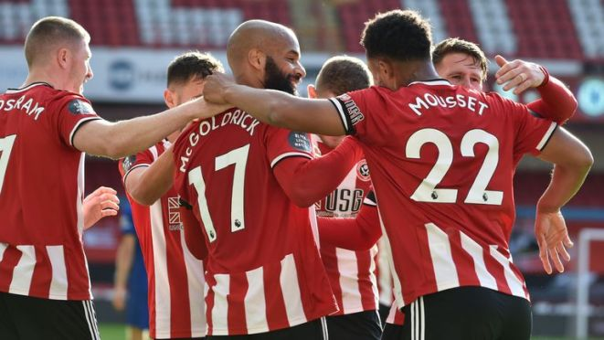 David McGoldrick celebrates scoring his second goal against Chelsea for Sheffield United