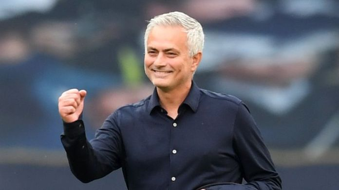 Jose Mourinho celebrates Tottenham's victory over Arsenal