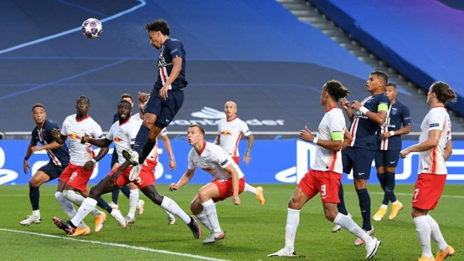 Marquinhos rises to head home his fifth goal of the season on Tuesday