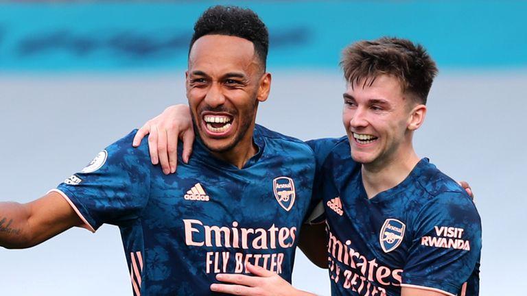 Pierre-Emerick Aubameyang celebrates after scoring Arsenal's third goal
