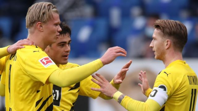 Erling Haaland and Marco Reus combined to win the game for Borussia Dortmund