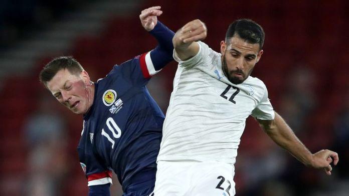 Scotland's Callum McGregor battles for possession with Eyal Golasa of Israel
