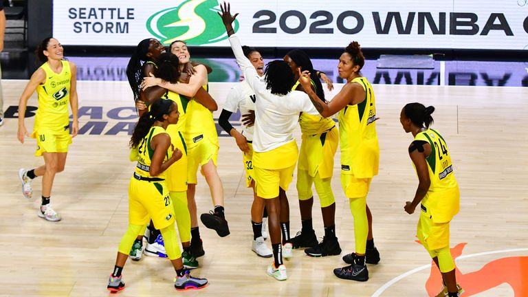 The Seattle Storm celebrates their victory in Game 3 of the WNBA Finals against the Las Vegas Aces
