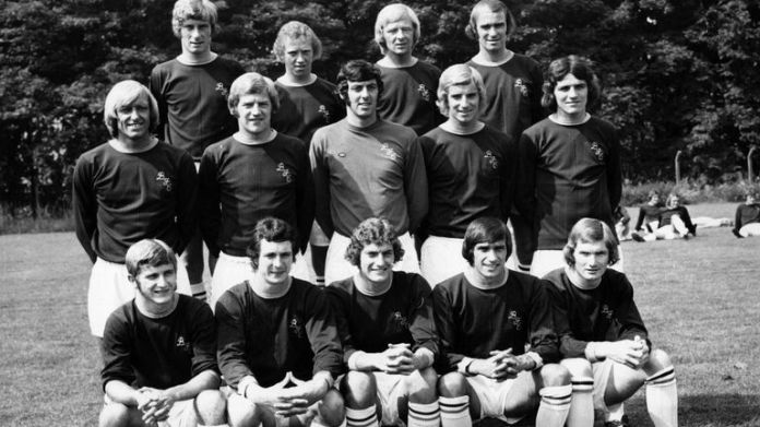 BURNLEY - circa 1973: A line up of the Burnley Football team from left to right: Back Row : Nulty, Ingram, Collins, Nodle Centre : Newton, Thompson, Stevenson, Waldron, Hawkin Front : Docherty, Flethcher, Dobson, Casper, and Leyton James