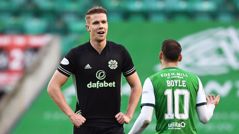 Celtic's Kris Ajer and Martin Boyle during a Scottish Premiership match
