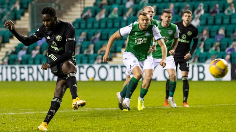 Odsonne Edouard scores to make it 2-1 during a Scottish Premiership match between Hibernian and Celtic at Easter Road,