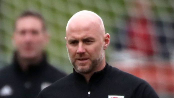 Wales assistant boss Rob Page at training