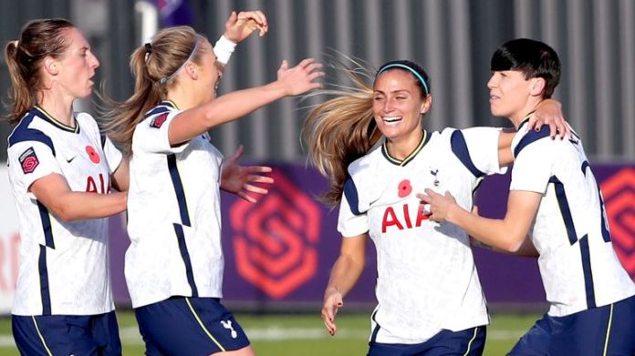 Tottenham's Ashleigh Neville (right) celebrates after equalising against Reading