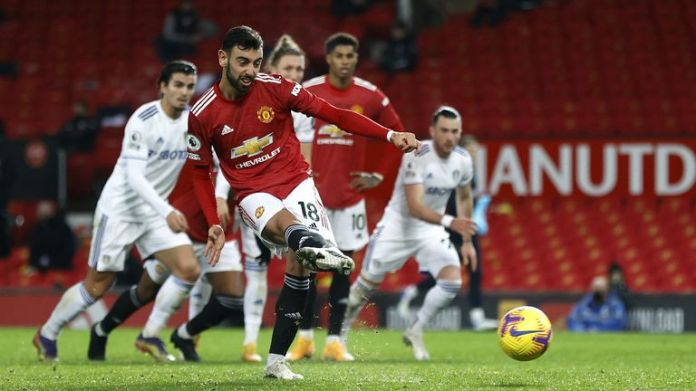 Bruno Fernandes scores his second goal of the game and Man Utd's sixth
