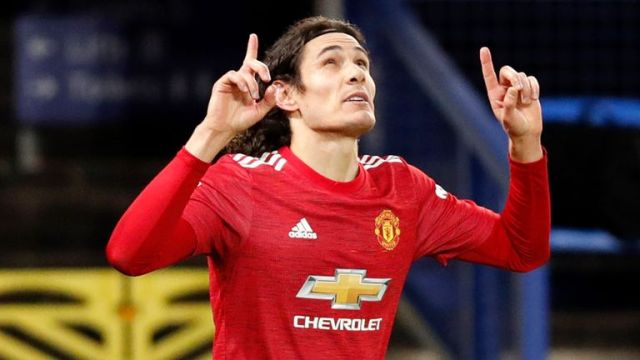 Edinson Cavani scored the late winner for Man Utd against Everton