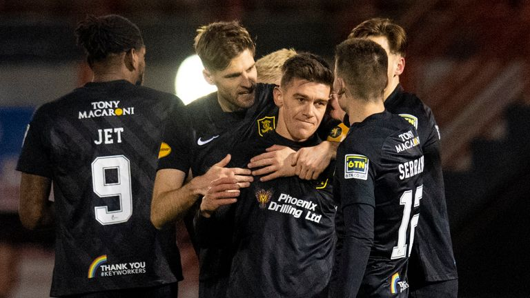 HAMILTON, SCOTLAND - DECEMBER 23: Livingston's Josh Mullin celebrates his goal with teammates during a Scottish Premiership match between Hamilton and Livingston at the FOYS Stadium on December 23, 2020, in Hamilton, Scotland. (Photo by Ross MacDonald / SNS Group)