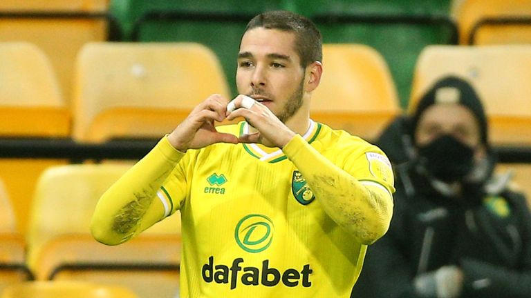 Norwich City's Emi Buendia celebrates scoring his side's first goal of the game