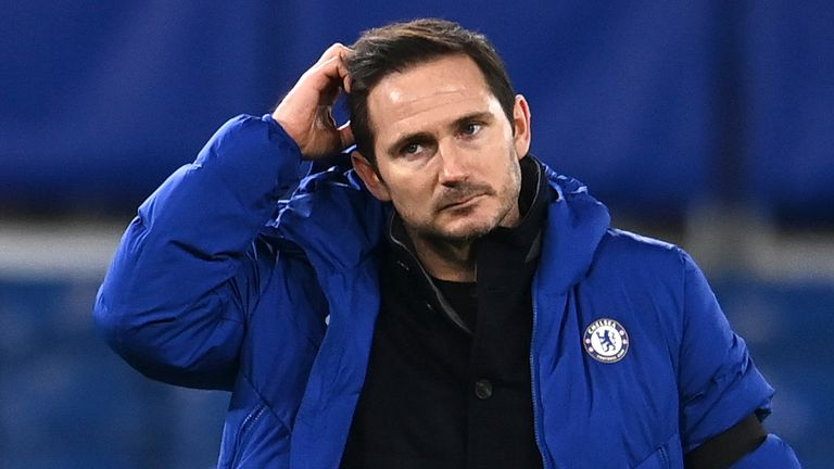 Chelsea's head coach Frank Lampard scratches his head after the English Premier League soccer match between Chelsea and Manchester City at Stamford Bridge, London, England, Sunday, Jan. 3, 2021. City won the match 3-1. (Andy Rain/Pool via AP)