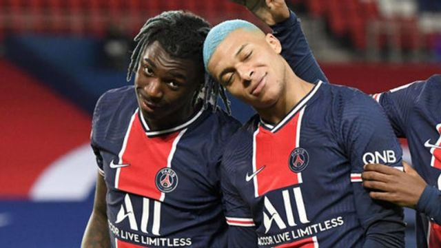 Moise Kean has enjoyed playing up front with Kylian Mbappe this season