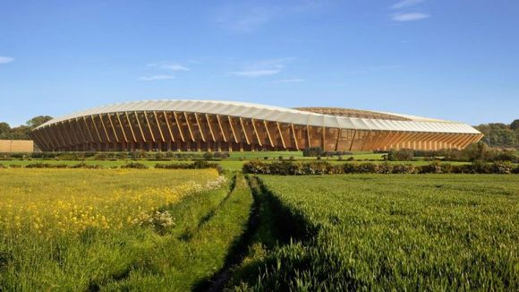 Eco Park: an all-wooden stadium could radically change the way stadia are designed, planned and built - to help fight climate change. (computer image)