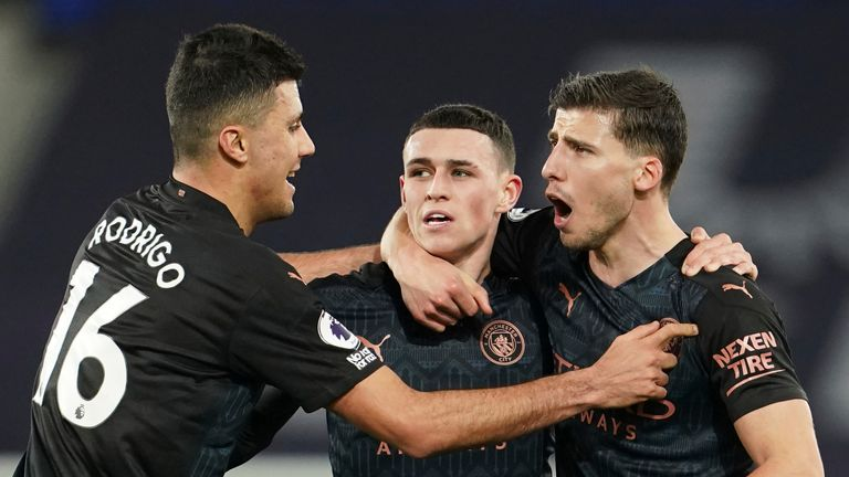 Phil Foden celebrates breaking Man City deadlock after 32 minutes