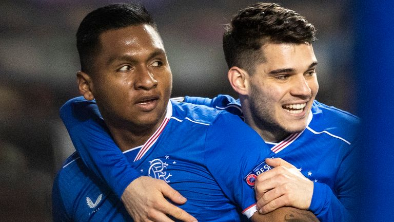 Alfredo Morelos celebrates with Ianis Hagi after scoring to make it 1-0 Rangers during a UEFA Europa League match between Rangers and Royal Antwerp at Ibrox Stadium, on February 25, 2021, in Glasgow, Scotland. (Photo by Craig Williamson / SNS Group)