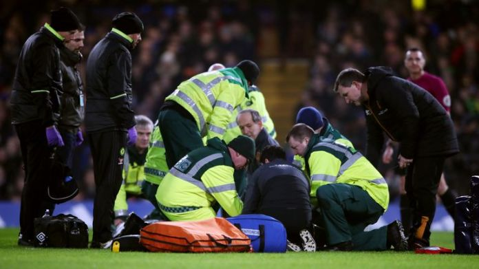 Ryan Mason suffers a head injury while playing for Hull in the Premier League