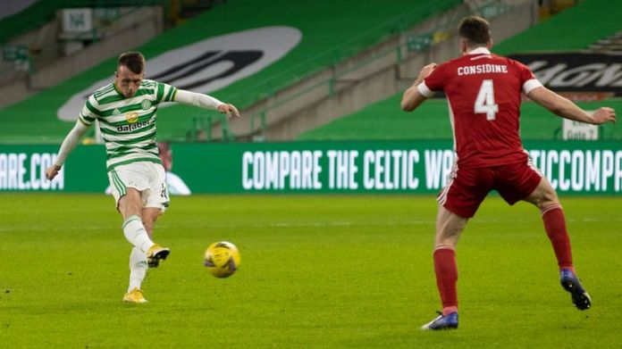 David Turnbull scores to make it 1-0 Celtic during a Scottish Premiership match between Celtic and Aberdeen at Celtic Park