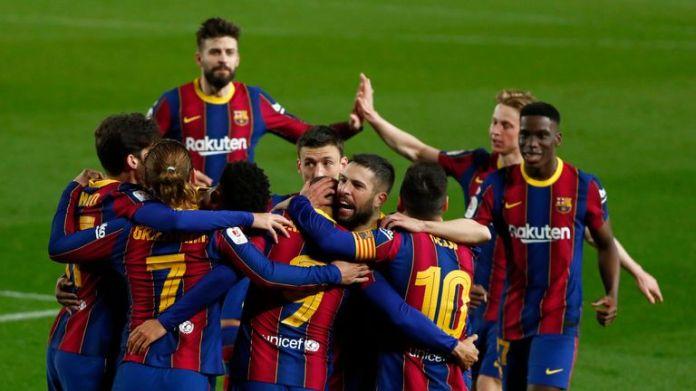 Braithwaite's late winner sparked wild celebrations involving the full Barcelona line-up