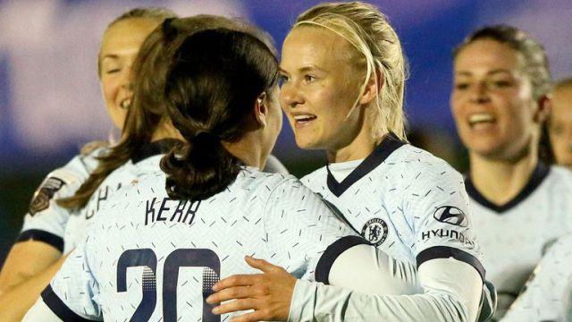 Pernille Harder celebrates scoring Chelsea's second goal at Everton (PA)