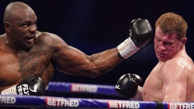 *** FREE FOR EDITORIAL USE ***.Alexander Povetkin v Dillian Whyte,  Interim WBC Heavyweight World Title..27 March 2021.Picture By Dave Thompson Matchroom Boxing.Dillian Whyte knock out punch ending the contest.