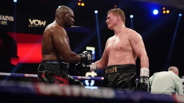 *** FREE FOR EDITORIAL USE ***.Alexander Povetkin v Dillian Whyte,  Interim WBC Heavyweight World Title..27 March 2021.Picture By Dave Thompson Matchroom Boxing.Dillian Whyte consoles his opponent.