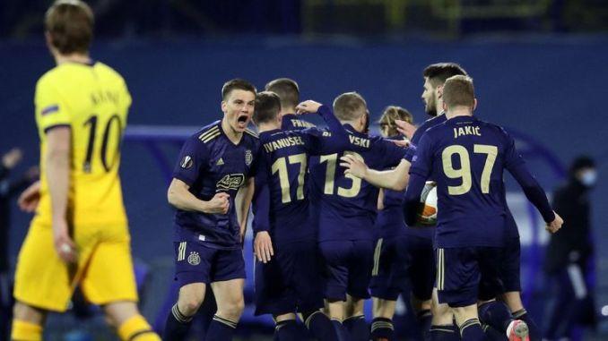Dinamo Zagreb players celebrate Mislav Orsic's second goal