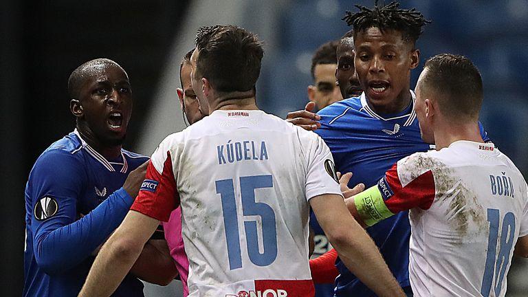 Players from both teams reacted furiously after Ondrej Kudela spoke to Glen Kamara
