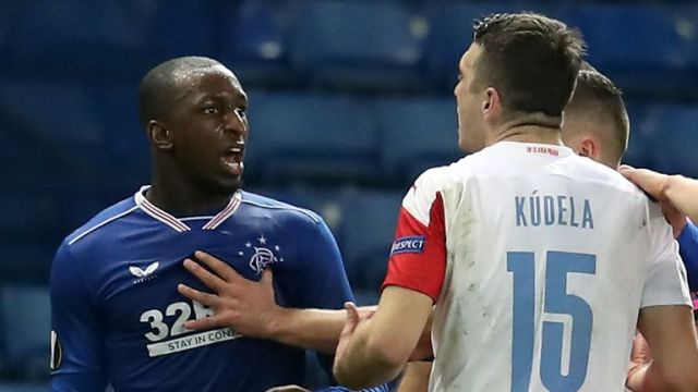 Glen Kamara (L) was allegedly subject to racist abuse during Rangers' Europa League exit on Thursday against Slavia Prague