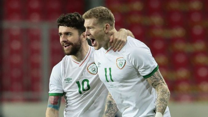 James McClean (right) celebrates giving the Republic of Ireland an early lead against Qatar