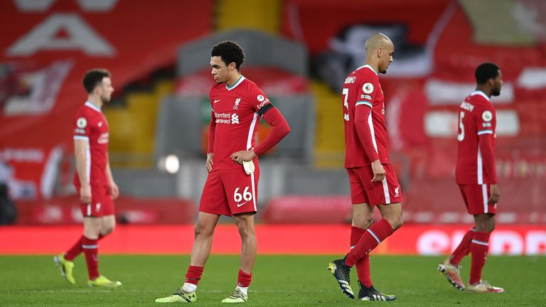 Liverpool's Trent Alexander-Arnold (centre) and his team-mates appear dejected after the Premier League match at Anfield, Liverpool. Picture date: Thursday March 4, 2021.