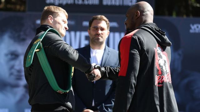 *** FREE FOR EDITORIAL USE ***.Alexander Povetkin and Dillian Whyte Press Conference ahead of their Interim WBC Heavyweight World Title fight on Saturday night..25 March 2021.Picture By Mark Robinson Matchroom Boxing.