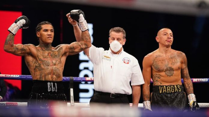 *** FREE FOR EDITORIAL USE ***.  Conor Benn vs Samuel Vargas, WBA Continental Welttereight Title Fight..April 10, 2021.Photo by Dave Thompson Matchroom Boxing.Conor Benn celebrates his first round victory.