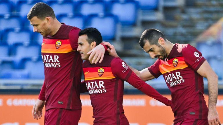 Former Premier League stars Edin Dzeko, Pedro and Henrikh Mkhitaryan are part of the travelling Roma squad