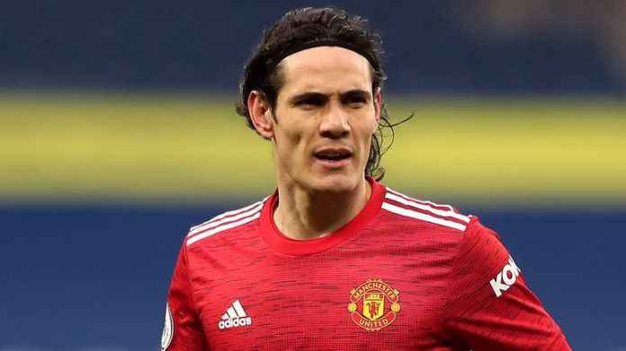 Manchester United's Edinson Cavani during the Premier League match at the Hawthorns, West Bromwich. Picture date: Sunday February 14, 2021 (PA)