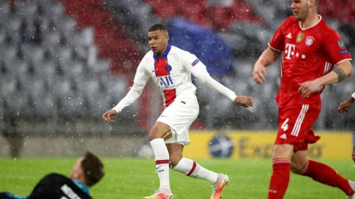 Kylian Mbappe fired PSG ahead with less than three minutes played at the Allianz Arena
